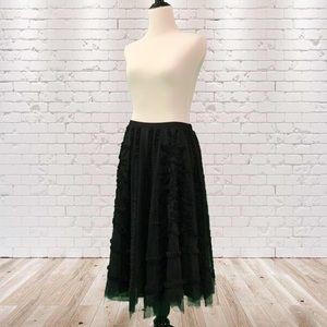 DKNY Sheer Black Midi Length Skirt Carrie Bradshaw